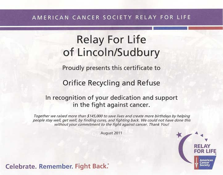relay for life of Lincoln / Sudbury MA